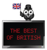 The Best of British. Best of British with businessman bird waving the Union Jack flag for British trade and industry on the global market  on white background Stock Photo