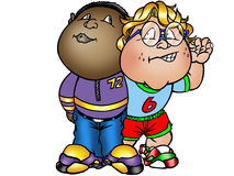 Best buddies. Cartoon art of  two best friends being cool Royalty Free Stock Image