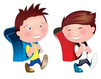 Best buddies going to school royalty free illustration