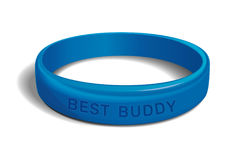 BEST BUDDY. Blue plastic wristband. Blue plastic wristband with the inscription - BEST BUDDY. Friendship band on white background. Realistic vector illustration royalty free illustration