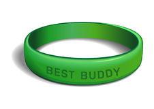 BEST BUDDY. Green plastic wristband. Green plastic wristband with the inscription - BEST BUDDY. Friendship band on white background. Realistic vector vector illustration
