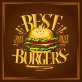 Best burgers menu design Royalty Free Stock Photography
