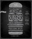 Best Burgers Poster - chalkboard style. Stock Photos