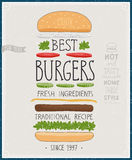 Best Burgers Poster - hand drawn style. Royalty Free Stock Photography
