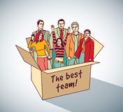Best business team group people in box. Color vector illustration. EPS10 Royalty Free Stock Image
