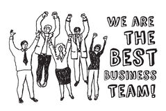 Best business team happy workers black and white. Happy group business people with sign. Black and white vector illustration. EPS 8 Stock Photography
