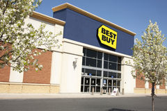 Best Buy. Retail store front in springtime stock photos