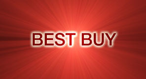 Best Buy banner red light flare. Best buy marketing promotional slogan wording with eye catching glowing light flares. Special orders welcome Royalty Free Stock Images