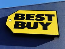 Best Buy Logo. Best Buy Co., Inc. is an American multinational consumer electronics retailer store royalty free stock image