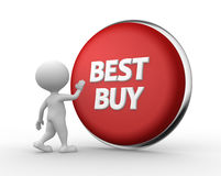 Best buy. 3d people - man, person with a button  Best buy Stock Photo