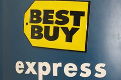 Best Buy Express Logo on Kiosk at Los Angeles Airport, LAX. A Best Buy Express logo is seen on the side of a kiosk selling computer accessories in terminal 4 of Royalty Free Stock Photos