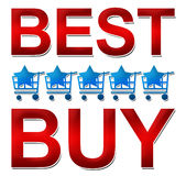 Best Buy Five Style. Text Best Buy in red with five carts and star in the middle vector illustration