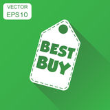 Best buy hang tag icon. Business concept best buy shopping picto. Gram. Vector illustration on green background with long shadow Royalty Free Stock Photos