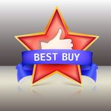 Best buy label with red star and ribbons, vector Royalty Free Stock Photos