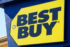 Best Buy logo. Mountain View / CA / USA - Close up of Best Buy logo displayed on the front of a store located in south San Francisco bay area royalty free stock photo
