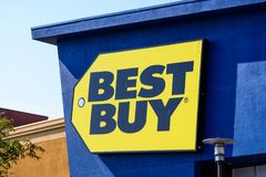 Best Buy logo. Mountain View / CA / USA - Close up of Best Buy logo displayed on the front of a store located in south San Francisco bay area stock photography