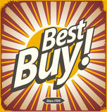 Best buy retro tin sign design Stock Photography