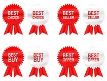 8 Best Buy, scelta, offerta ed etichette del venditore con il nastro Fotografie Stock Libere da Diritti