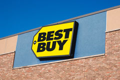 Best Buy Sign. DARTMOUTH, CANADA - APRIL 25, 2016: Best Buy is an American owned retail electronics company. Best Buy has stores in the United States, Canada stock photo