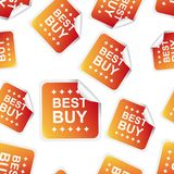 Best buy sticker seamless pattern background icon. Business flat Royalty Free Stock Photos