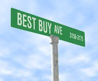 Best Buy Themed Street Sign Royalty Free Stock Photography