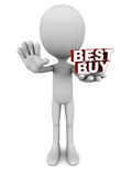 Best buy. Words in hands of a little man against white background, concept of best and lowest price Stock Photography