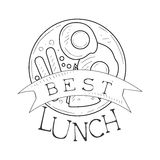 Best Cafe Lunch Menu Promo Sign In Sketch Style With English Breakfast, Design Label Black And White Template Royalty Free Stock Photos