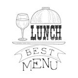 Best Cafe Lunch Menu Promo Sign In Sketch Style With Glass Of Wine, Design Label Black And White Template Stock Images