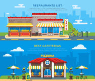 Best Cafeterias And Restaurants List Flat Banners Royalty Free Stock Image