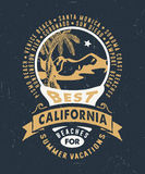 BEST CALIFORNIA BEACHES FOR SUMMER VACATIONS. Handmade Palms trees retro style. Design fashion apparel textured print. T shirt graphic vintage grunge badge royalty free illustration