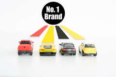 Best car seller concept with toys and up arrows Stock Photos