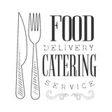 Best Catering And Food Delivery Service Hand Drawn Black And White Sign Design Template With Calligraphic Text Royalty Free Stock Photo