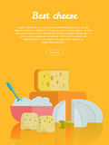 Best cheese banner. Natural Farm Food. Best cheese banner. Different varieties of cheese pieces on orange background. Natural farm food. Dairy product. Retail Stock Images
