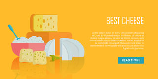 Best cheese banner. Natural Farm Food. Best cheese banner. Different varieties of cheese pieces on orange background. Natural farm food. Dairy product. Retail Stock Photography