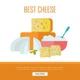 Best cheese banner. Natural Farm Food. Best cheese banner. Different varieties of cheese pieces on white background. Natural farm food. Dairy product. Retail Stock Images