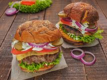 The best cheeseburgers from fresh meat Stock Image