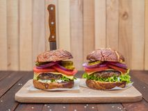 The best cheeseburgers from fresh meat Royalty Free Stock Photography