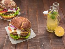 The best cheeseburgers from fresh meat Royalty Free Stock Image