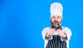 Best chef ever. Dieting and organic food, vitamin. Chef man in hat. Secret taste recipe. Bearded man cook in kitchen royalty free stock photos