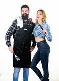 Best chef ever. Picnic barbecue. food cooking recipe. Man bearded hipster and girl. Preparation and culinary. Tools for. Roasting meat. Couple in love hold stock images