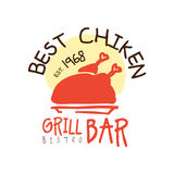 Best chiken grill bar estd 1968, logo template hand drawn colorful vector Illustration. For menu, restaurant, cafe, bistro Stock Photos