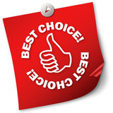 Best choice. Post-it note paper on white background Royalty Free Stock Photo