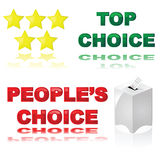 Best choice. Glossy illustrations of two icons for best choice awards or products: Top choice with stars, and People's Choice with ballot box Royalty Free Stock Photos