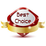 Best choice. Red best choice symbol with golden ribbon Stock Photo