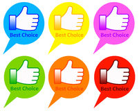 Best choice. Shopping icons in several bright colors Royalty Free Stock Photography