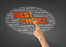 Best Choice. Hand pointing at a best choice illustration on dark background Stock Images