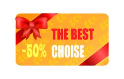 The Best Choice - 50 Autumn Sticker with Red Bow. And ribbon in corners vector illustration of gift card on background of leaves half price discount Royalty Free Stock Photography