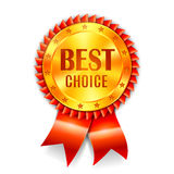 Best Choice Award. Golden best choice award medal with red ribbon Royalty Free Stock Photo