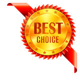 Best Choice Award. Medal with red ribbon. Corner decoration element Stock Photo