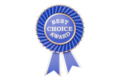 Best choice award, prize, medal or badge with ribbons. 3D render Stock Photos